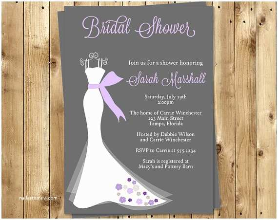 Purple and Gray Wedding Invitations Bridal Shower Invitations Purple Gray Dress Wedding