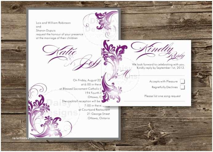 Purple and Gray Wedding Invitations Diy Wedding Invitation Templates Purple and Grey Printable