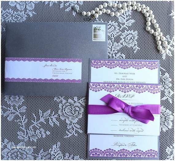 Purple and Gray Wedding Invitations Lace Purple Gray Elegant Wedding Invitation by