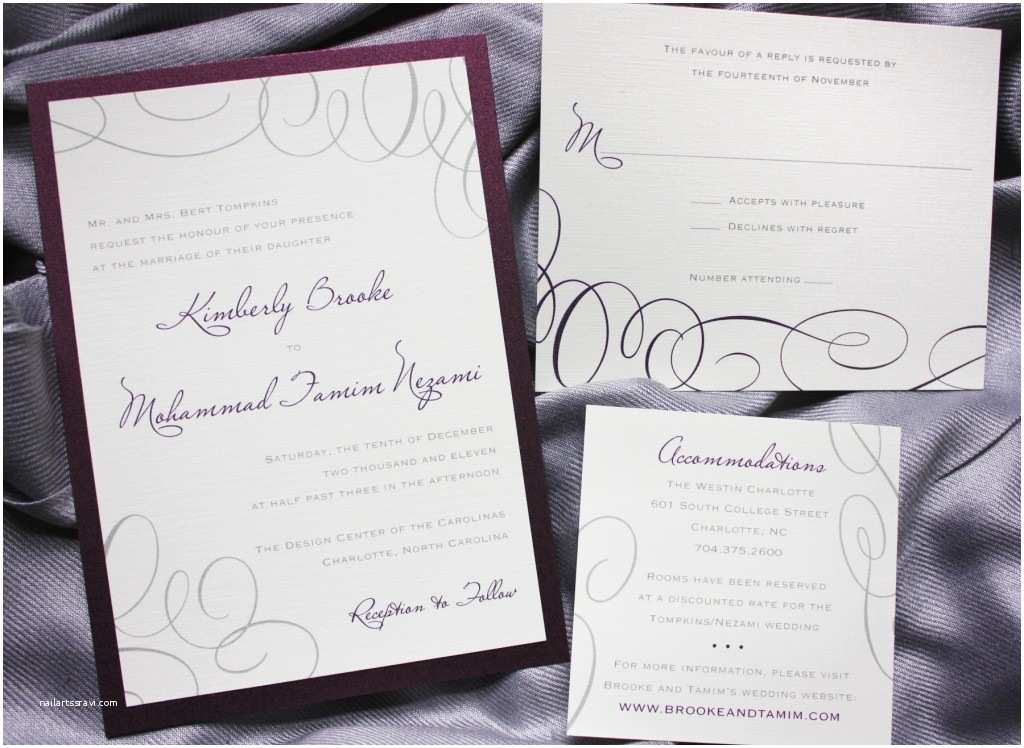 Purple and Gray Wedding Invitations Merlot Purple and Gray asymmetric Swirl Wedding