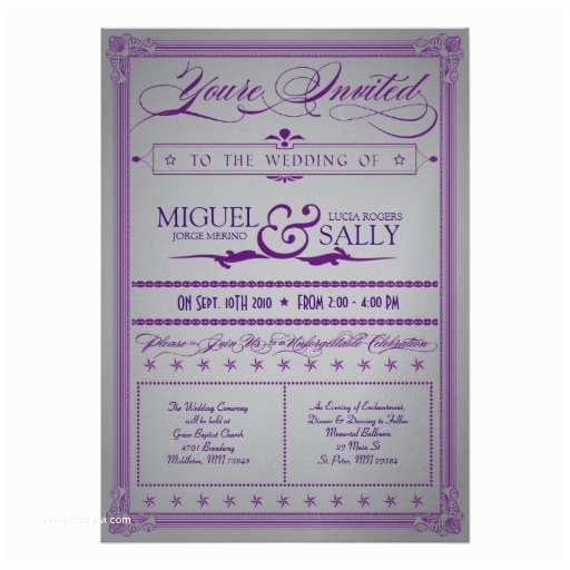 "Purple and Gray Wedding Invitations Metallic Purple & Grey Wedding Invitation 5"" X 7"