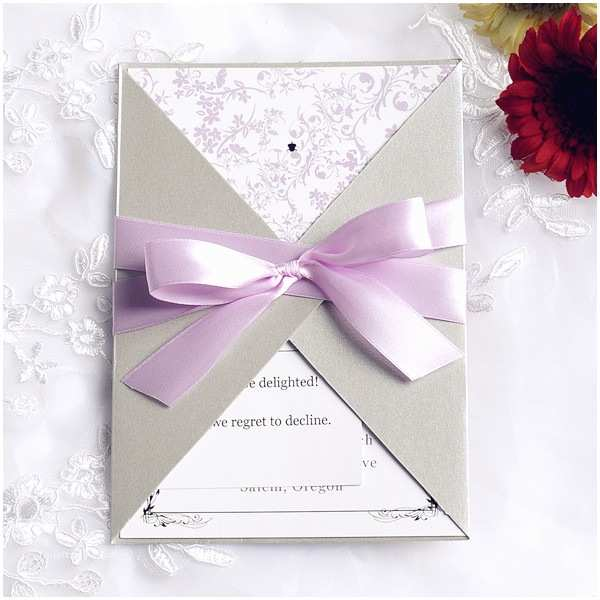 Purple and Gray Wedding Invitations Pink and Gray Pocket Ribbon Elegant Wedding Invitations