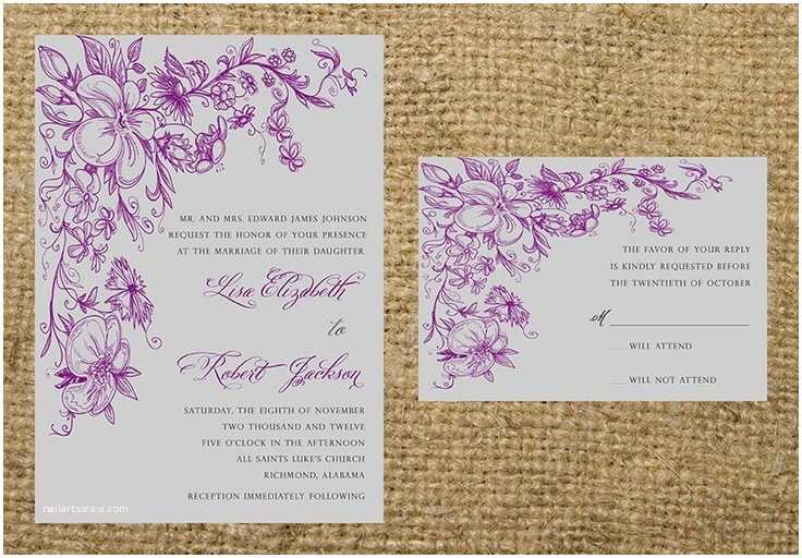 Purple and Gray Wedding Invitations Printable Purple Eggplant Plum and Gray Elegant Floral