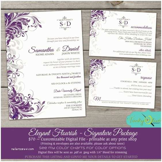 Purple and Gray Wedding Invitations Purple & Gray Flourish Wedding Invitation Elegant