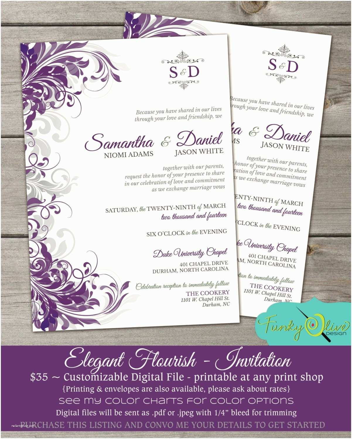 Purple and Gray Wedding Invitations Purple & Gray Flourish Wedding Invitation Shower Rehearsal