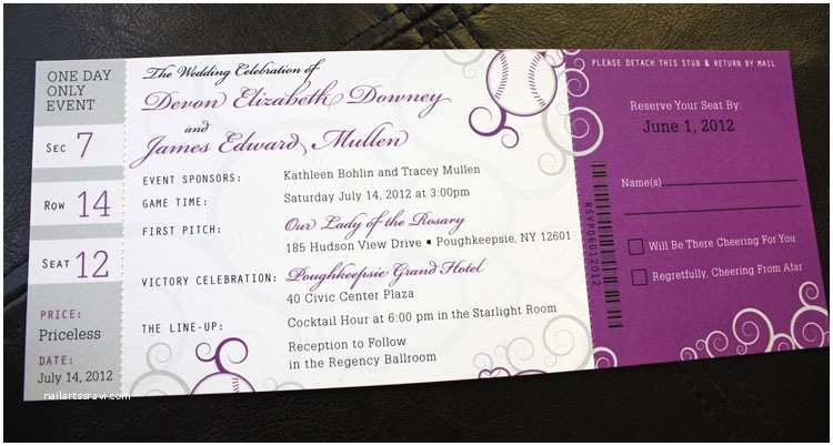 purple silver swirl baseball ticket wedding invitations