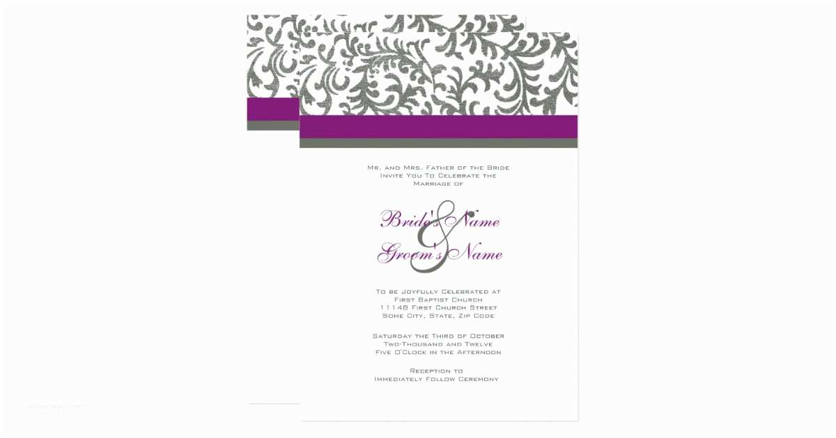 Purple and Gray Wedding Invitations Purple and Gray Wedding Invitation