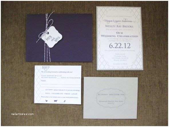 Purple and Gray Wedding Invitations Purple and Gray Wedding Invitations
