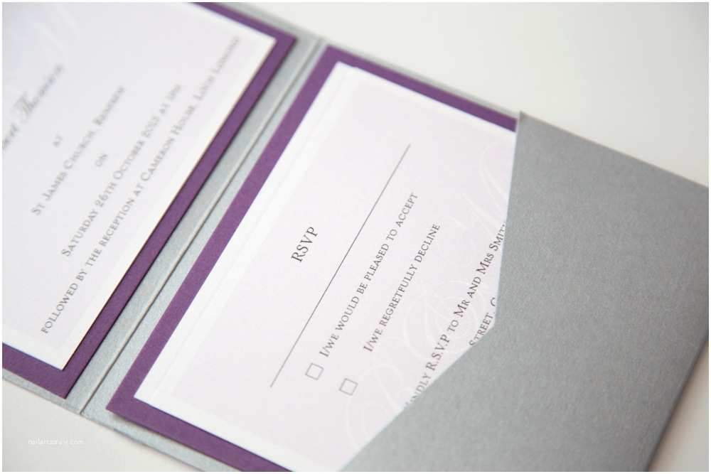 Purple and Gray Wedding Invitations Purple and Grey Monogram Wedding Invitations Vintage