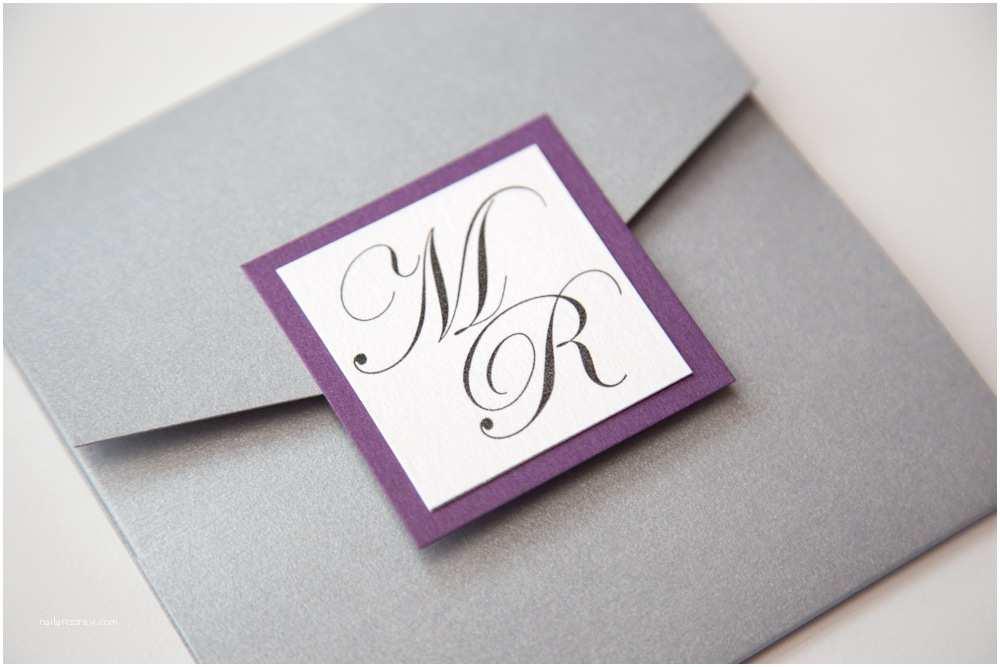 Purple and Gray Wedding Invitations Purple and Grey Monogram Wedding Invitations Vintage