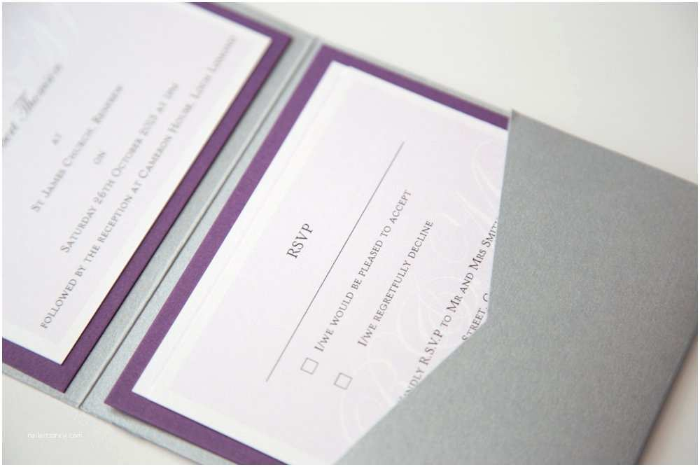 Purple and Gray Wedding Invitations Purple and Grey Wedding Invitations