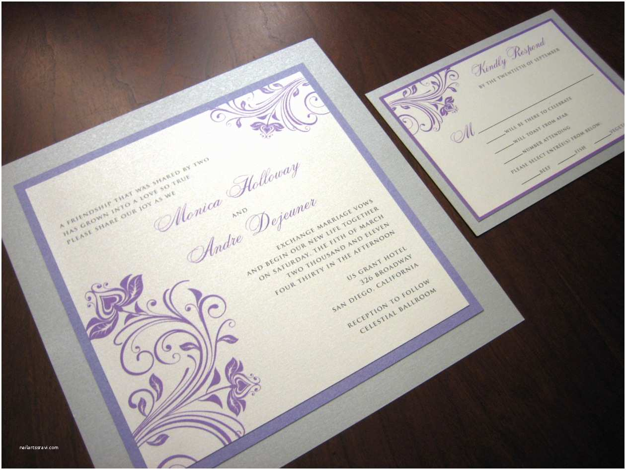 Purple and Gray Wedding Invitations Purple and Silver Wedding Invitation – A Vibrant Wedding