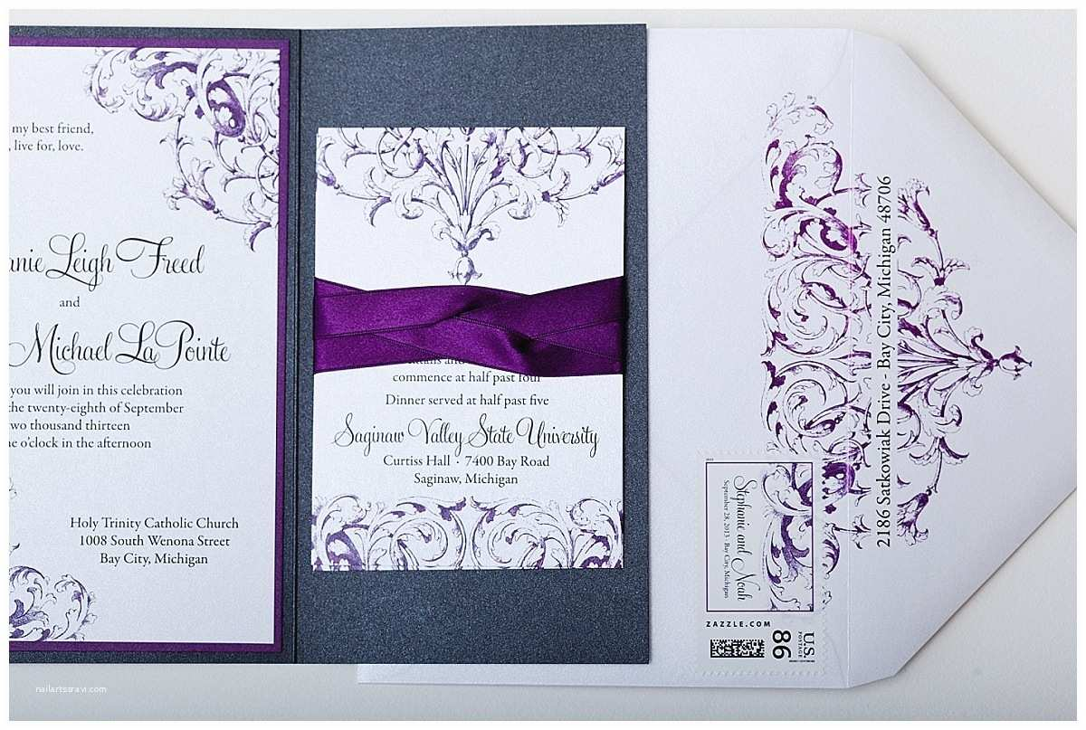 Purple and Gray Wedding Invitations Purple Pewter and White Custom Wedding Invitations