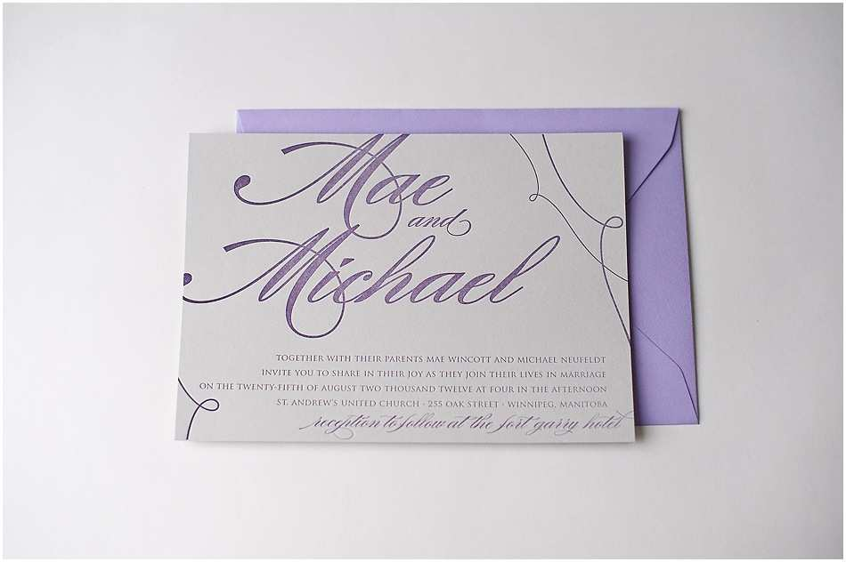 Purple and Gray Wedding Invitations Real Wedding Mae and Michael