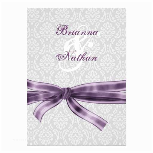 Purple and Gray Wedding Invitations Silver Gray Purple Damask & Bow Wedding Invitation