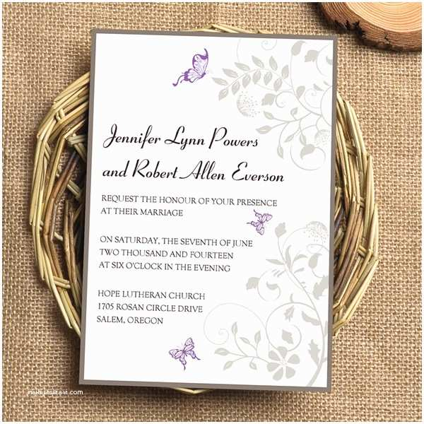 Purple and Gray Wedding Invitations Spring Purple and Grey Flower and butterfly Wedding