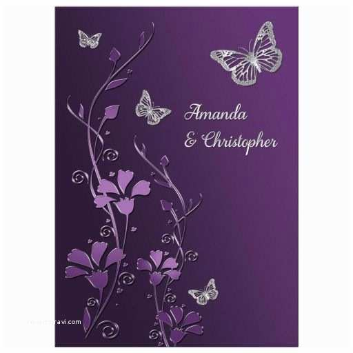 Purple and Gray Wedding Invitations Wedding Invitation Purple Plum Silver