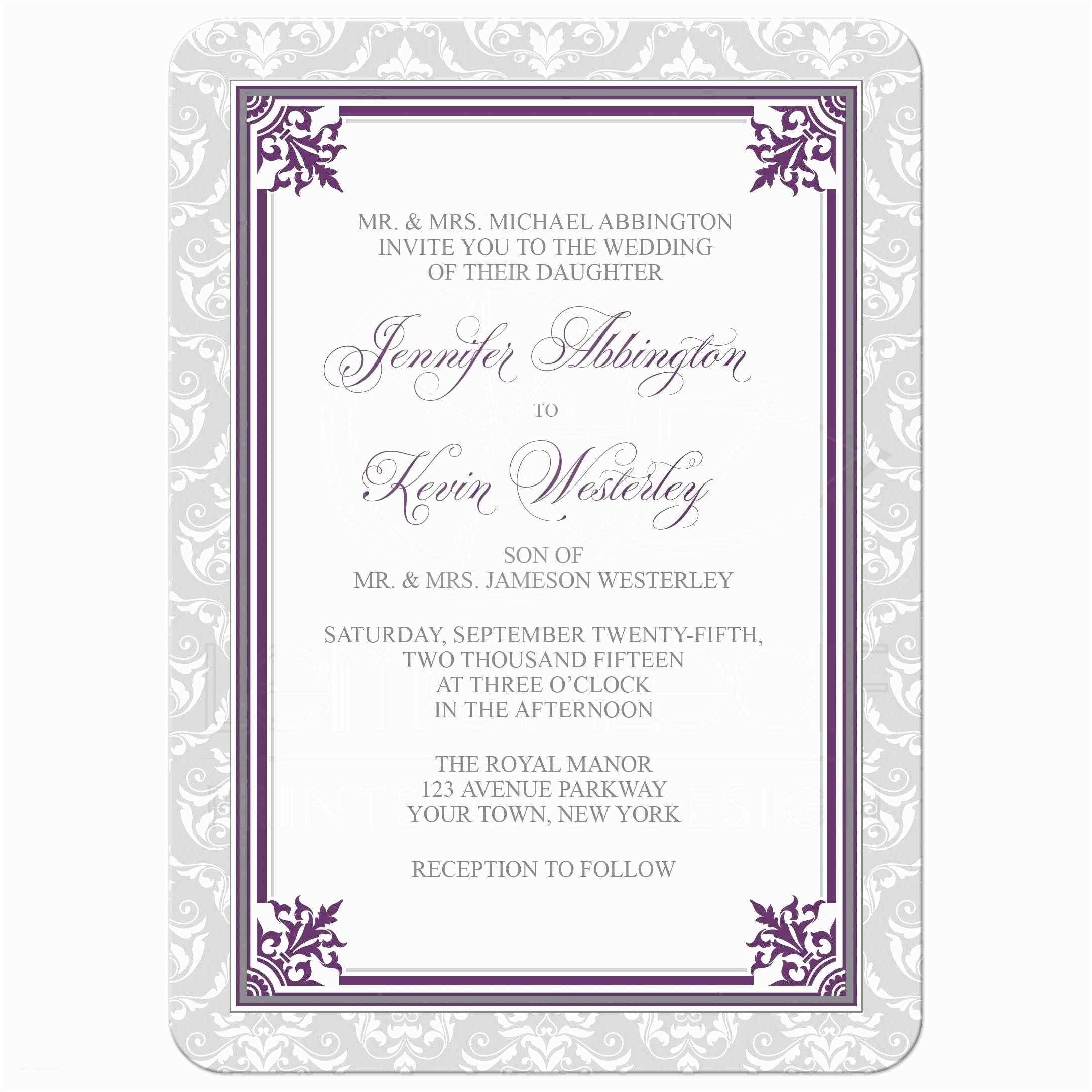 Purple and Gray Wedding Invitations Wedding Invitations Plum Purple and Gray Elegant Damask