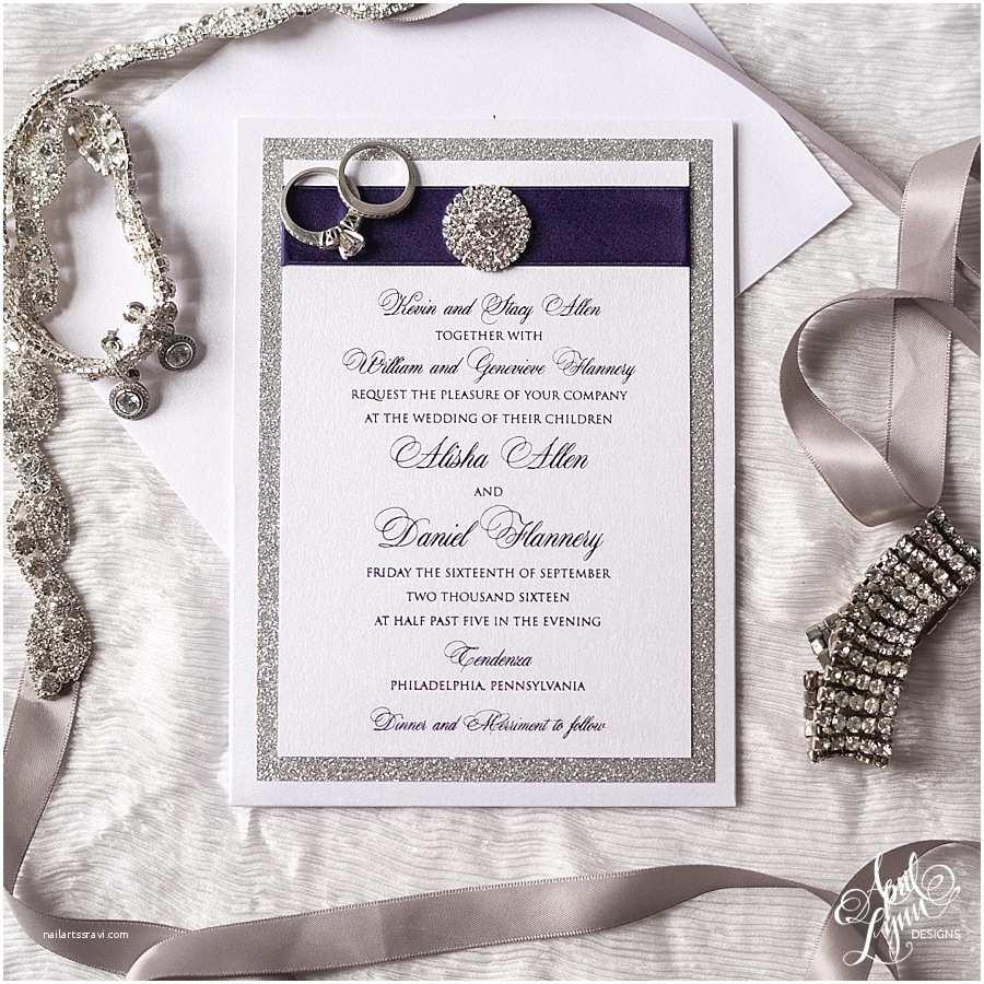 Purple and Silver Wedding Invitations Alisha Dan's Elegant Purple Foil and Silver Glitter