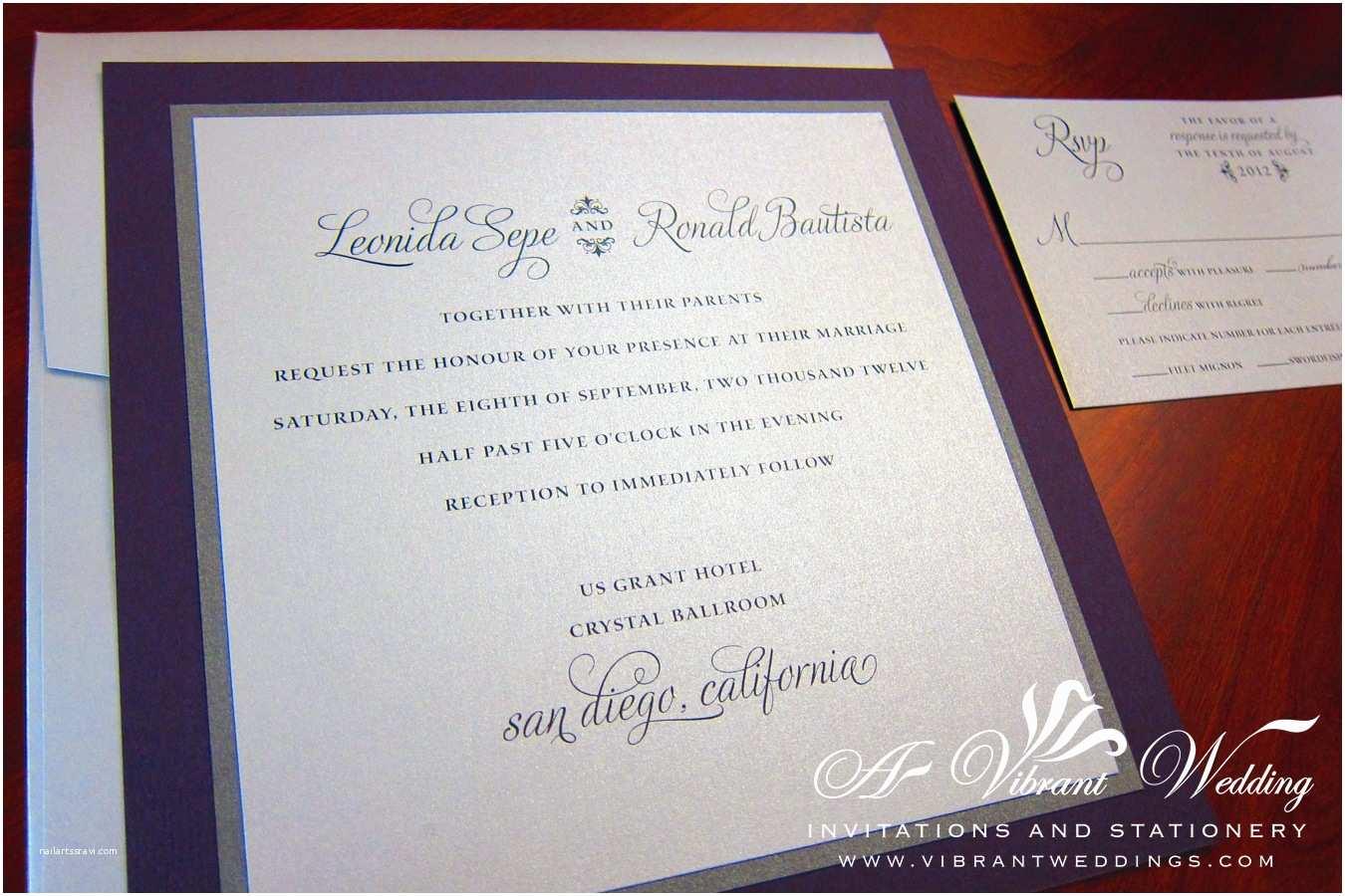 Purple and Silver Wedding Invitations Layered Wedding Invitations Purple and Silver Modern