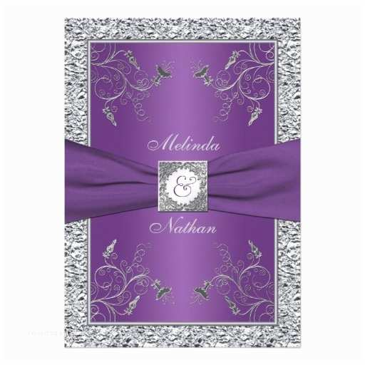 "Purple and Silver Wedding Invitations Printed Ribbon Purple Silver Wedding Invitation 5"" X 7"