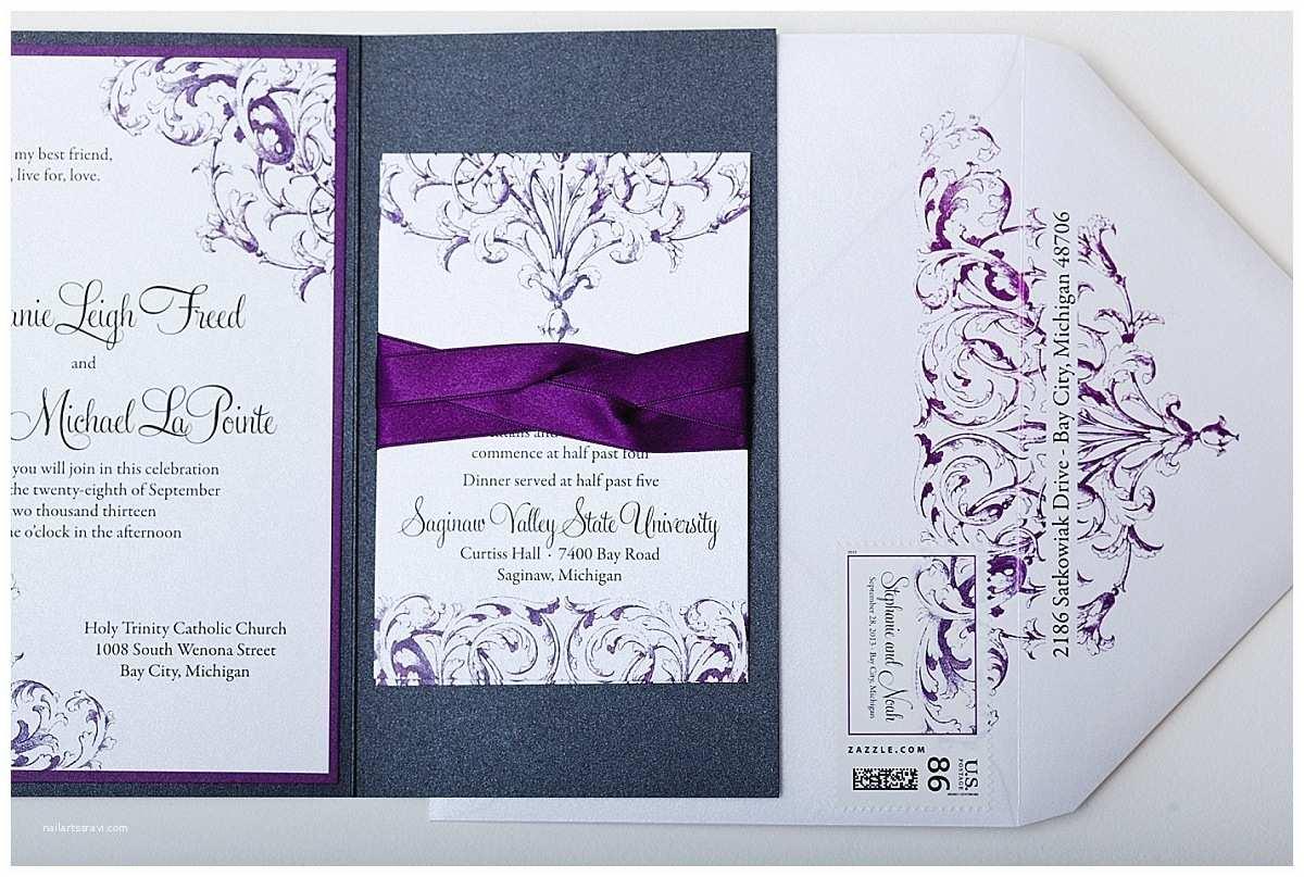 Purple and Silver Wedding Invitations Purple Pewter and White Custom Wedding Invitations
