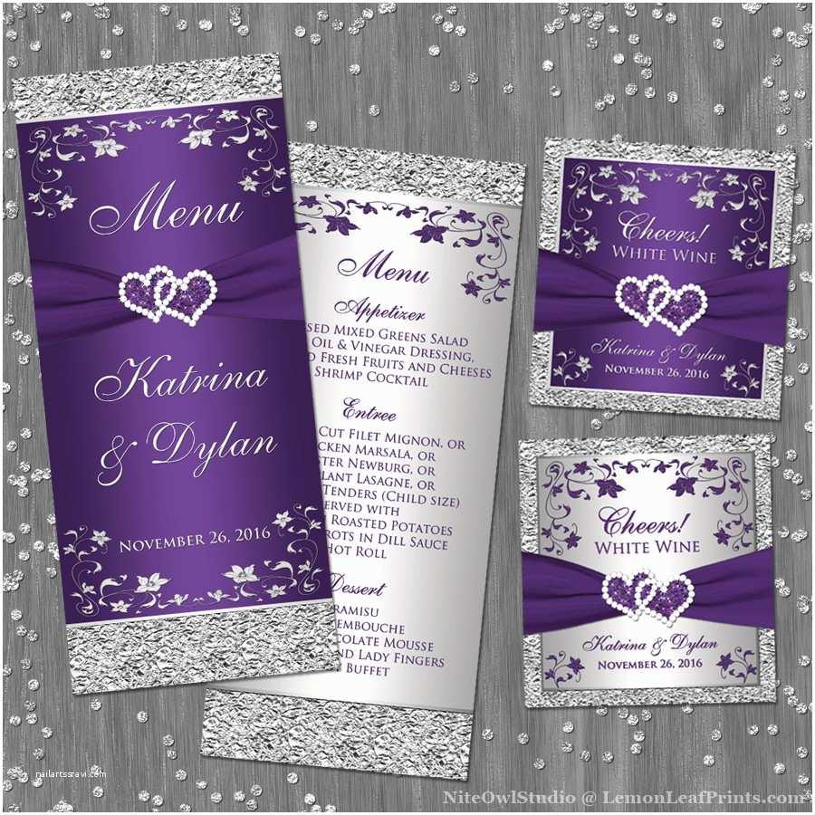 Purple and Silver Wedding Invitations Purple Silver Wedding Invitation Set