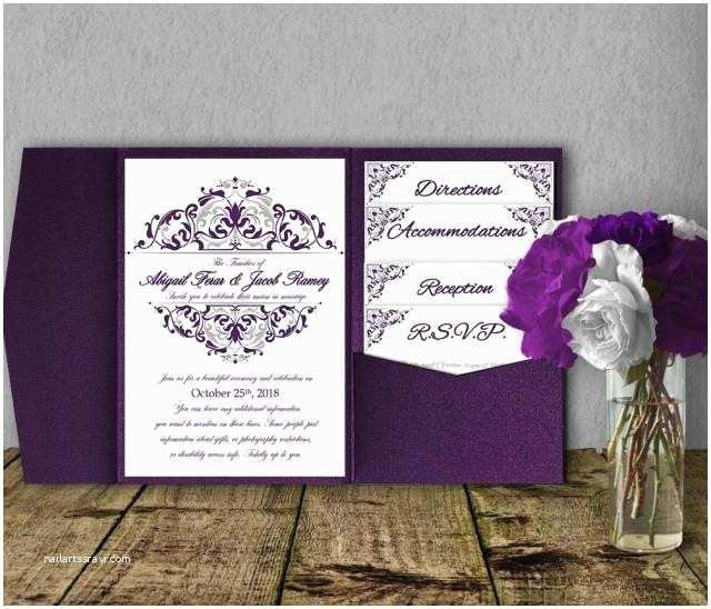 Purple and Silver Wedding Invitations Silver Purple Wedding Invitation Template Kit Invitation