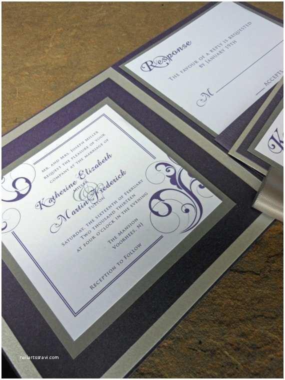 Purple and Silver Wedding Invitations Square Pocketfold Wedding Invitation Purple Silver by