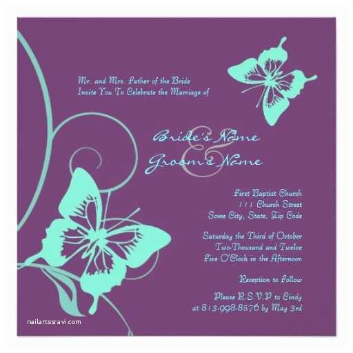 Purple and Teal Wedding Invitations Purple and Teal butterfly Wedding Invitation