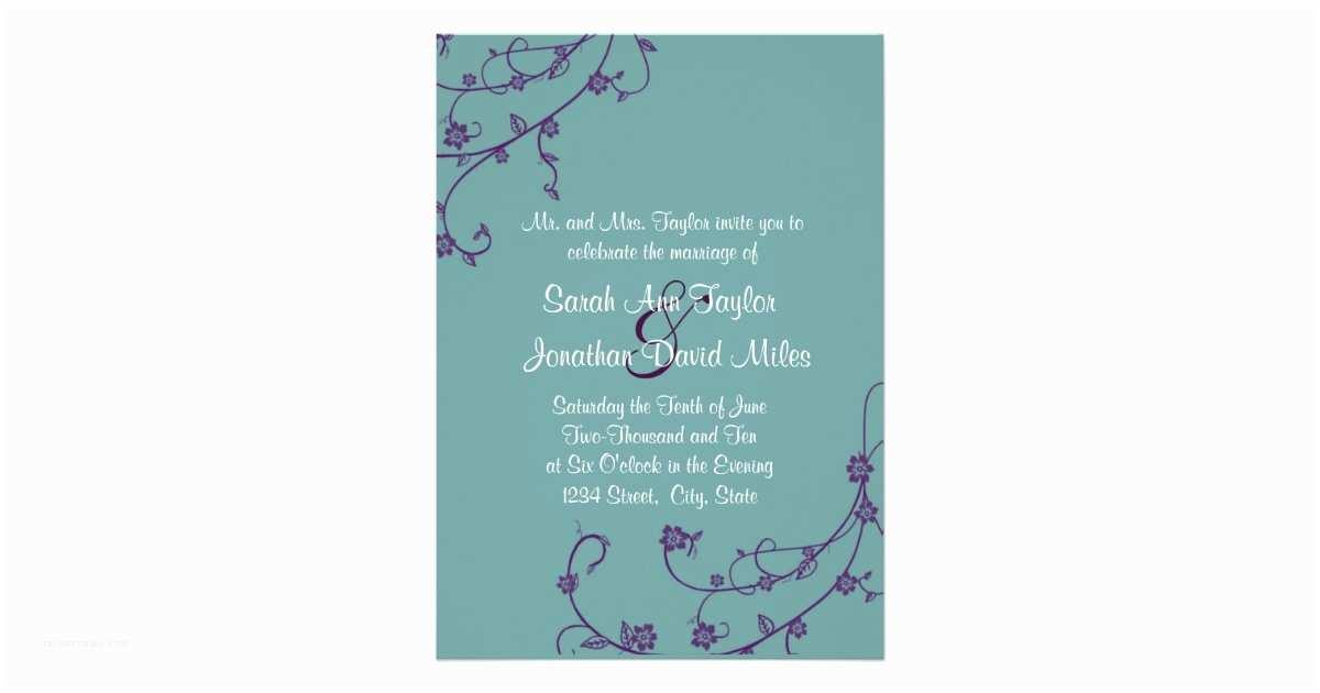 Purple and Teal Wedding Invitations Purple and Teal Floral Swirl Wedding Invitation
