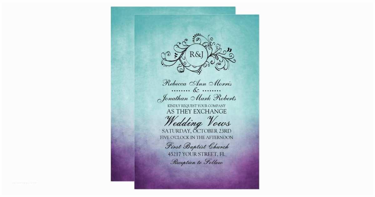 Purple and Teal Wedding Invitations Rustic Teal Purple Bohemian Wedding Invitation