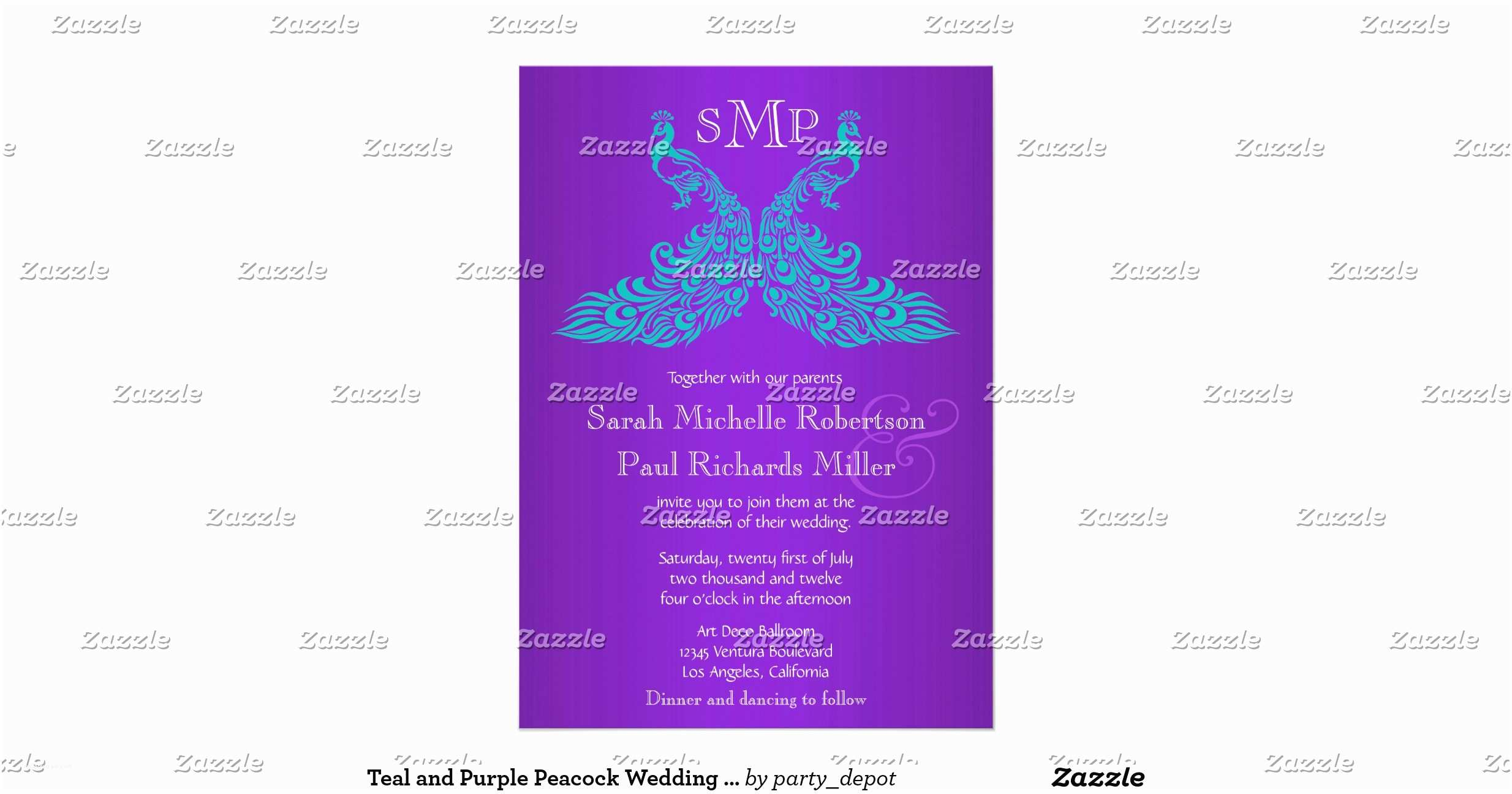Purple and Teal Wedding Invitations Teal and Purple Peacock Wedding Invitations