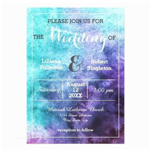 Purple and Teal Wedding Invitations Teal Blue Purple Watercolor Wedding Invitation