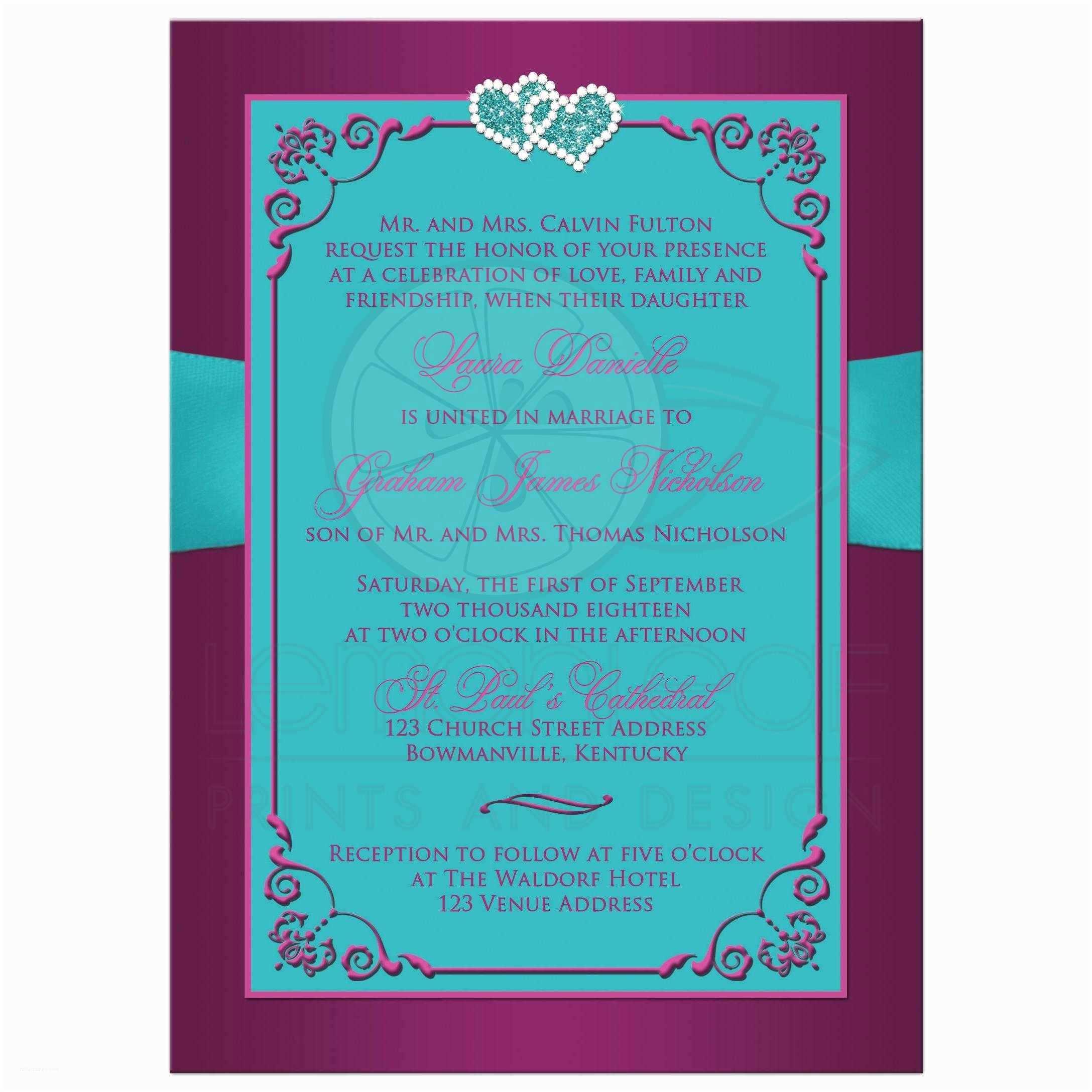 Purple and Teal Wedding Invitations Wedding Invitation Teal Plum Magenta Floral