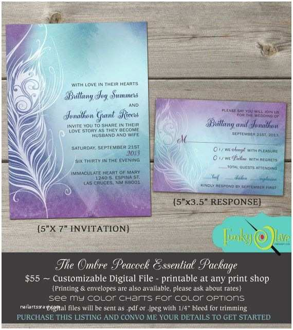 Purple and Turquoise Wedding Invitations Ombre Peacock Feather Wedding Invitation Watercolor Navy