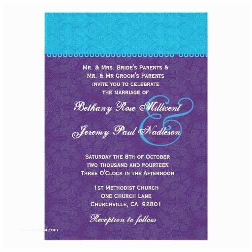 Purple and Turquoise Wedding Invitations Personalized Purple and Turquoise Wedding Invitations