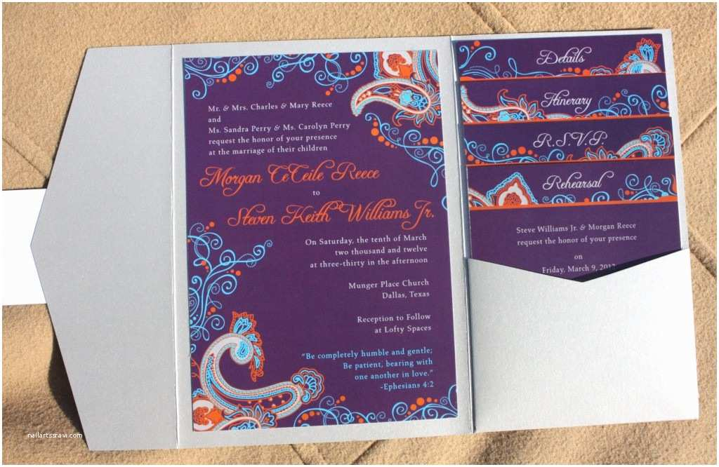 purple orange turquoise silver paisley and swirl pocketfold wedding invitations