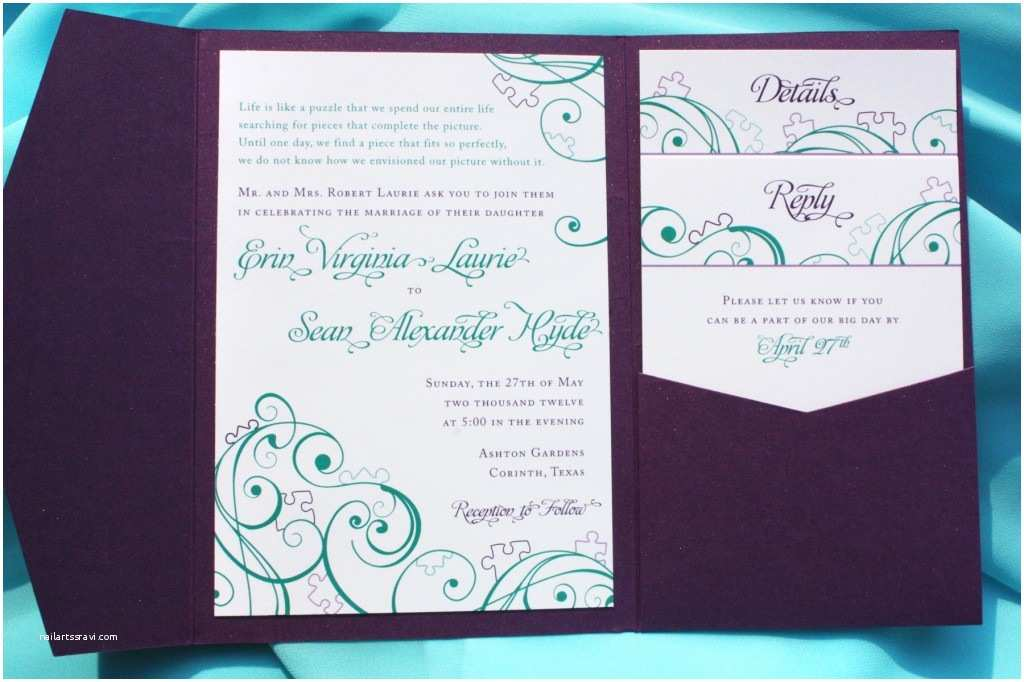 Purple and Turquoise Wedding Invitations Purple Teal & Turquoise Puzzle Piece & Swirl Pocketfold