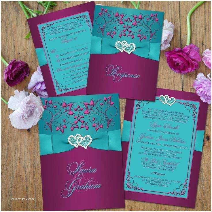 Purple and Turquoise Wedding Invitations Purple Wedding Invitations