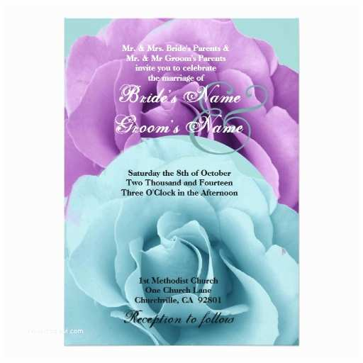 Purple and Turquoise Wedding Invitations Turquoise Blue and Purple Rose Wedding Template 5x7 Paper