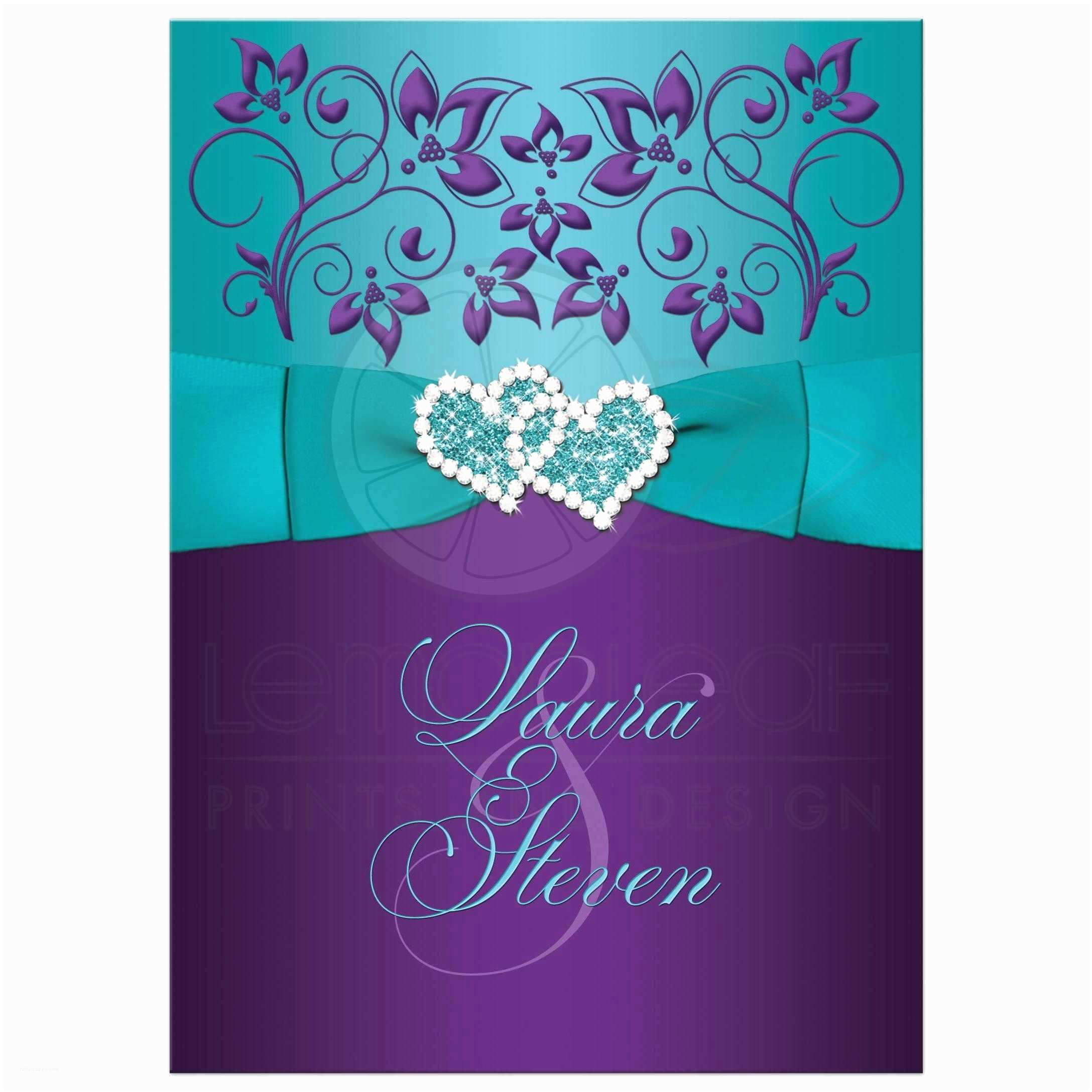 Purple and Turquoise Wedding Invitations Wedding Invitation Purple Aqua White Floral