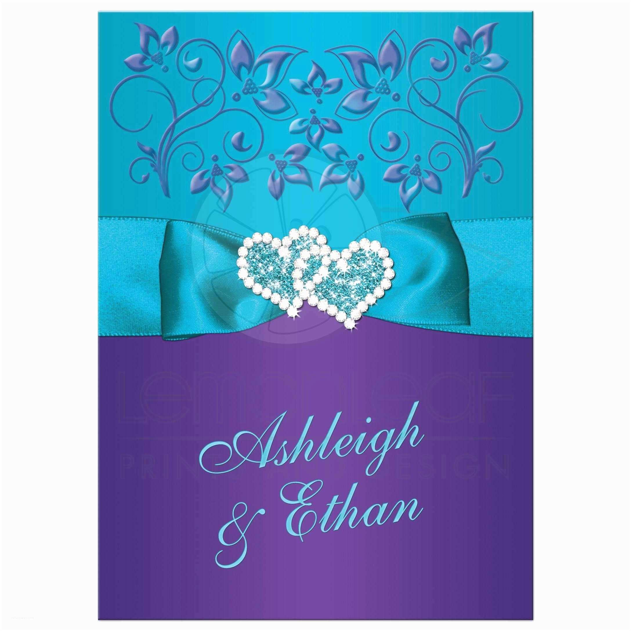 Purple and Turquoise Wedding Invitations Wedding Invitation Purple Teal Blue Floral