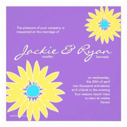 Purple and Yellow Wedding Invitations Daisy Wedding Invitation Purple Yellow Blue