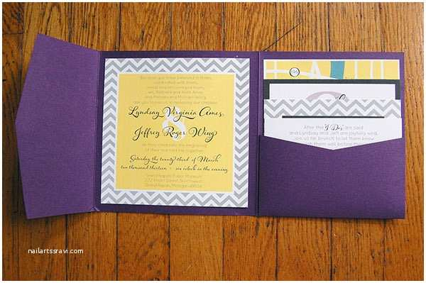 Purple and Yellow Wedding Invitations Modern Purple Yellow Gray Chevron Wedding Invitations On