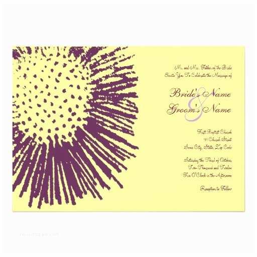"Purple and Yellow Wedding Invitations Purple & Yellow Abstract Floral Wedding Invitation 5"" X 7"