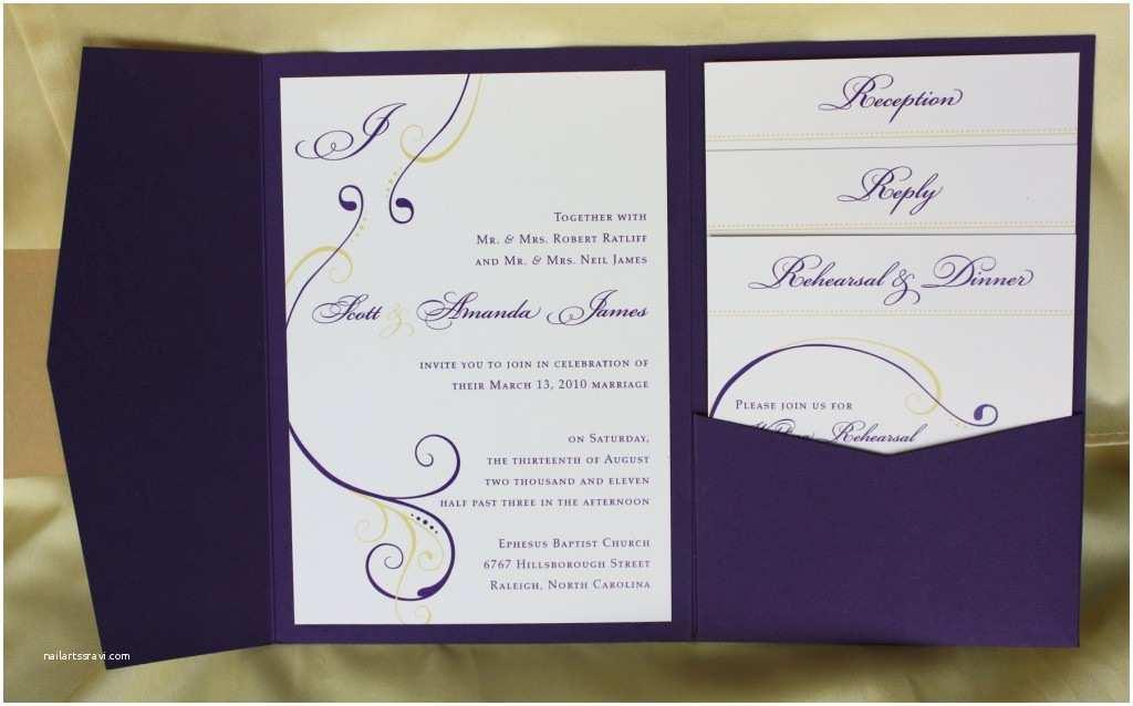 Purple and Yellow Wedding Invitations Purple & Yellow Swirl with Monogram Pocketfold Wedding