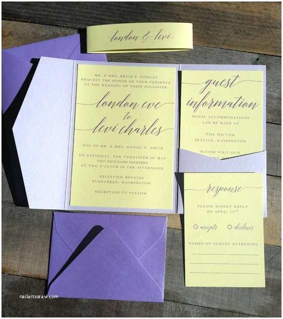 Purple and Yellow Wedding Invitations Purple and Yellow Wedding Invitation Suite Wedding