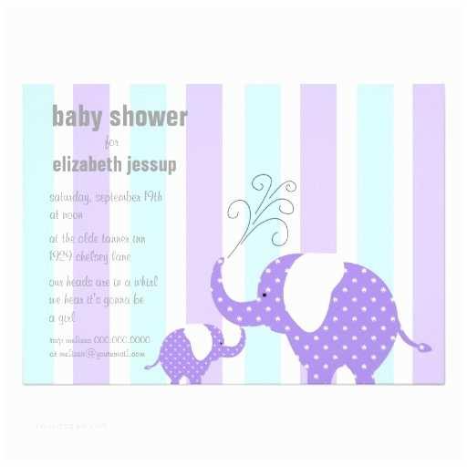Purple Baby Shower Invitations Purple Baby Elephant