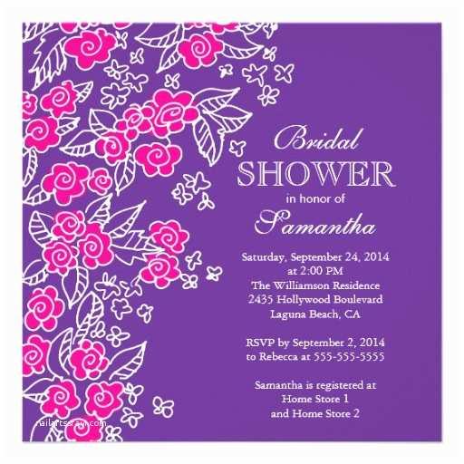 Purple Bridal Shower Invitations 10 000 Purple Flower Invitations & Announcement Cards